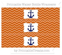 Burnt Orange Chevron  Nautical Water Bottle Wrappers