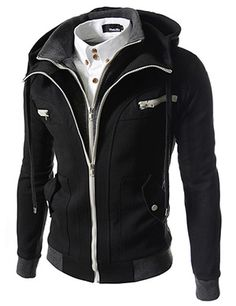 (LCJ10-BLACK) Slim Fit Double Zipper Hood Cotton Jacket