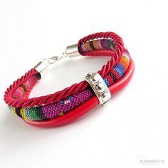 Bransoletka Tres boho bordowo czerwona - Bransoletki - Biżuteria artystyczna