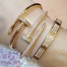 These Cartier bracelets are the reason I can sleep at night Cartier Nail Bracelet, Cartier Jewelry, Diamond Bracelets, Love Bracelets, Bangle Bracelets, Cartier Love Bracelet Diamond, Pandora Bracelets, Luxury Jewelry, Gold Jewelry