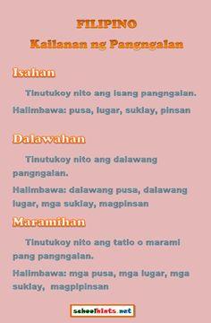 Mga Pagsasanay sa Pagtutukoy ng mga Kailanan ng Pangngalan  http://www.schoolhints.net/filipino/kailanan-ng-pangngalan/