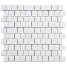 """Retro 1"""" x 1"""" Square Offset Porcelain Mosaic Tile in Glossy White"""