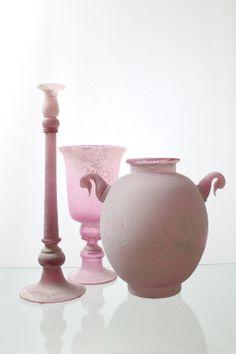 "Seguso Vetri d´ Arte, Murano Drei aüßerst dekorative Objekte ""a Scavo rosé"". For more information: http://tillipan.com"