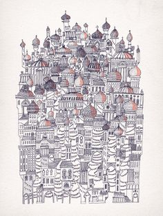 Italo Calvino, Invisible Cities approx 50cmx70cm 2 colour screen print…