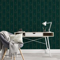 Green Pattern Removable Wallpaper, Oblong Shapes Wall Decal, Geometric Peel and Stick, Modern Art Deco Decor, Emerald Wall Mural Cling - Swatch / 4 x 6 Swatch
