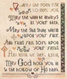 may the road rise to meet you cross stitch