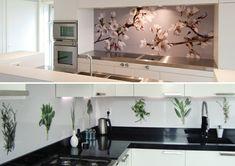 küche design ideen glas rückwand motive orange blau | küche ... - Küche Wandpaneele Glas
