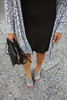 slip dress and grey suede mules - My Style Vita @mystylevita