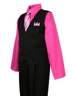 b6114341cc078 Spring Notion Boys Pinstripe Dress Shirt Vest & Pants Set Fuchsia Pink  2T - Click