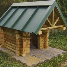 Get design ideas with pictures to build your own DIY Dog House. Free Dog House Plans included at end of article. 30 awesome dog house designs with pictures. Diy Log Cabin, How To Build A Log Cabin, Build A Dog House, Dog House Plans, Shed Plans, Log Cabins, Garage Plans, Cabin Plans, Backyard Projects