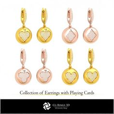 CAD Collection of Earrings with Playing Cards Cad Services, 3d Cad Models, Jewelry Collection, Playing Cards, Gold Necklace, Collections, Earrings, Stuff To Buy, Ear Rings