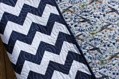 Chevron Maverick Baby Boy Quilt  - MADE TO ORDER -Air Force Airplane Navy Reversible Handmade Blanket on Etsy, $125.00