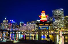 Sydney Skyline with Santa himself Sydney Skyline, Small Planet, Darling Harbour, Sydney Australia, Tasmania, City Lights, City Life, Winter Holidays, White Christmas