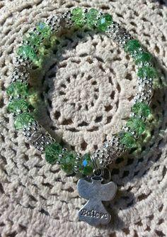 Believe Hope Angel Bracelet Peridot, Light Green,  by HopeAngelBracelets