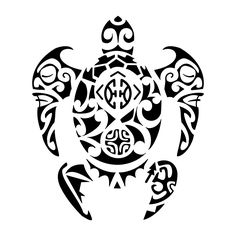 """Takiaho. Line of descent.  This turtle with two tiki on the front flippers for protection represents Mike´s family, with the letters """"JLL"""" and """"JCL"""" of his daughters on the shell surrounding a Marquesan cross that symbolizes harmony and balance. Right above it we placed the couple symbol, and the two round shapes together, one above the other, recall the[...]  http://www.tattootribes.com/index.php?newlang=English&idinfo=7163"""