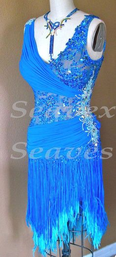U3497 ballroom party chacha rumba Latin samba salsa dance dress fringing US 12 #seahunter