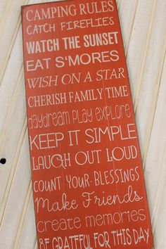 Primitive Rustic Camping Rules Sign Typography  subway by Wildoaks, $42.00