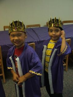 Make kingly robes out of purple t-shirts cut down the middle and then add cotton batting. Use for any Bible story with a king in it.(story of David/Solomon, Esther, Jeremiah, Herod and so on)