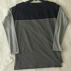 """Soft grey top Long sleeve top with stripes.  Black and grey.  Bust 38"""". Length 25"""". Sleeve length 19.5. NWT. Liz Claiborne Tops"""
