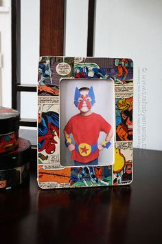 How to Make a Comic Book Decoupage Frame by Amanda Formaro at Crafts by Amanda