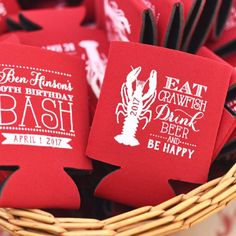 Crawfish Boil Birthday Crawfish Crawfish Boil Party Crawfish Party Favors Party Favors Can Coolers Party Favors Birthday by SipHipHooray