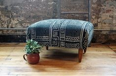 Upcycled Mid Century Modern Ottoman with African Mudcloth in black ans white by territoryhardgoods