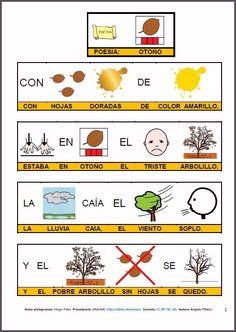 """MATERIALES - """"El otoño"""".    Canciones, frases y poesías para trabajar en la unidad didáctica del Otoño.    http://arasaac.org/materiales.php?id_material=412"""