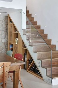 22 great idea design storage opportunities with stairs 7 Staircase Storage, Stair Storage, Staircase Design, Stair Design, Small Space Interior Design, Interior Design Living Room, Glass Stairs, Modern Stairs, House Stairs