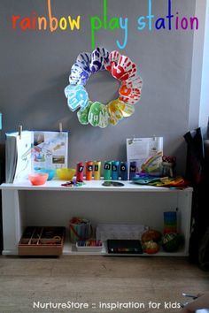 Great set up for a rainbow theme unit, with ideas for rainbow activities including maths, literacy, art, sensory play, and free printables.