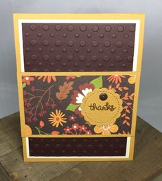 """This 6"""" x 4 1/2"""" handmade card is all about autumn colors. This fall colored card is the ideal way to thank someone special for going the extra mile. The card comes with a matching envelope."""