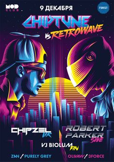 Chiptune vs. Retrowave Poster