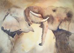 Série Elephant show, issue d'un voyage en Thaïlande.  Sélectionné au Salon International de l'aquarelle d'Uckange, 2016.   41 x 57 cm hors cadre.Aquarelle marouflée sur panneau de bois et vernie. Elephant show serie, from a trip in Thailand. 41 x 57 cm without frame. En lire + ...