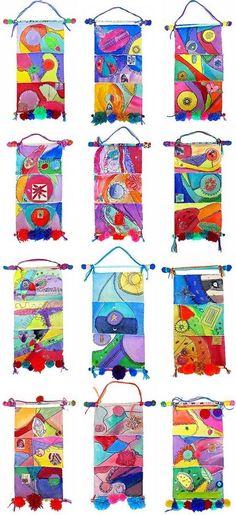 Wall Hangings - use fall colour scheme Group Art Projects, School Art Projects, Collaborative Art Projects For Kids, Clay Projects, Art School, School Ideas, Kindergarten Art, Preschool Art, Art Du Monde
