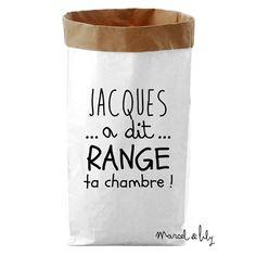 Paper bag Jacques a dit range ta chambre - Marcel et Lily - fée pas ci, fée pas ça