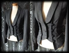 Gothic Grey Panel BEWITCHING Corset Coat Jacket 6 8 Victorian Steampunk Vintage - £49.00