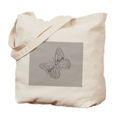 Silver Grey Butterfly Tote Bag, for personalized gifts.