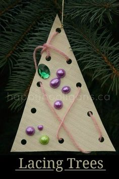 Lacing Trees - easy homemade ornament for toddlers and preschoolers