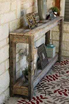 Natural Unfinished Sofa Table Truly unique and special Natural Rustic Sofa Table has been built from naturally weathered reclaimed wood. Farmhouse Sofa Table, Rustic Sofa Tables, Diy Sofa Table, Farmhouse Furniture, Rustic Furniture, Farmhouse Decor, Modern Furniture, Rustic Hallway Table, Diy Entryway Table
