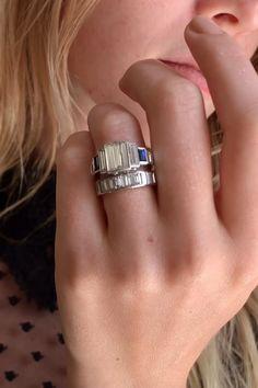 Cartier Vintage Baguette Diamond and Sapphire Engagement Ring Deco Engagement Ring, Vintage Engagement Rings, Vintage Rings, Celebrity Engagement Rings, Art Deco Diamond, Vintage Diamond, Emerald Cut Rings, Emerald Cut Diamonds, Jewelry Design Drawing