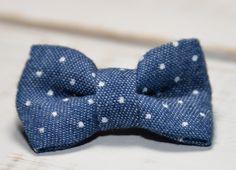 Barrette bébé clic-clac petit nœud / Jean clair imprimé de petits pois blancs : Accessoires coiffure par noeud-vous-deplaise