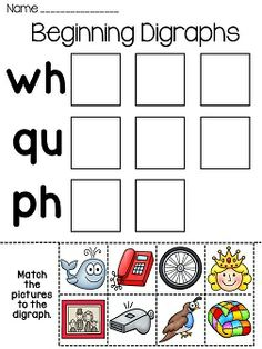 FREE - Digraphs : ch verses sh - Kids cut, paste, and sort ...