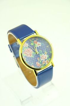 Niebieski zegarek damski na skórzanym pasku niebieski Akcesoria \ Zegarki \ Zegarki Fashion Butik 157679