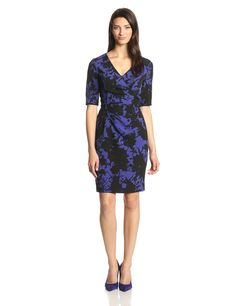 Elbow Sleeve V Neck Printed Wrap Dress by Adrianna Papell