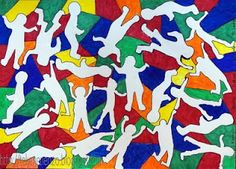 Kids Artists: In the style of Keith Haring, group work Artists For Kids, Art For Kids, Mondrian, Keith Haring Art, Group Art Projects, Black Construction Paper, Drawing Sheet, Student Drawing, Ecole Art
