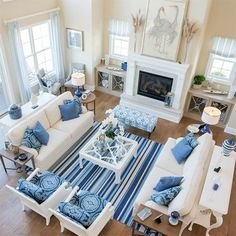 If you decorate using colour psychology as your guide book you will know that blue is a colour that cools and soothes. We put together a collection of blue room; from bathrooms to living rooms, blue is perfect for our hot summers. #furniturearrangement