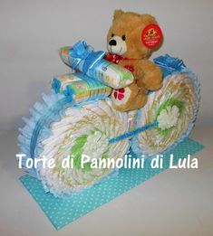 Torta di Pannolini Moto- idea regalo, originale ed utile, nascita, battesimo, compleanno