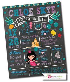 First Birthday Chalkboard Milestones by CherryImprintDesign
