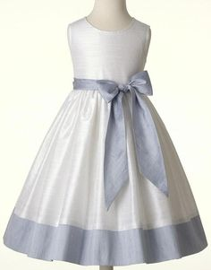 Flower girl dress, communion, special occasion. Silk dupioni, white and blue. Custom colors and size 2T- 12Y and 14Y. $135.00, via Etsy.