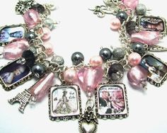 Charm Bracelet Marie Antionette Beaded Charms Altered Art Pictures Chunky Famous Queens Royalty Literary