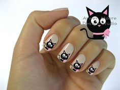 Very Chic Mod Black Cat Pink Gift Bow Nail Art by the4thmuse, $3.20 - can't wait…